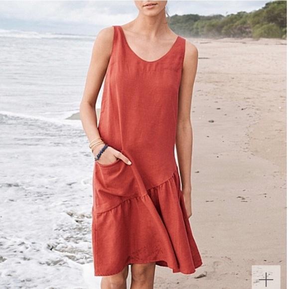 7b554c28baa Garnet Hill Dresses   Skirts - Garnet Hill Burnt Orange Linen Dress 12